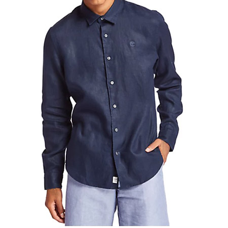 Timberland LS Mill River Linen SF - Blau - sideview