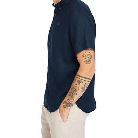 Timberland A2DCC433 SS Linen Shirt - Blau - sideview