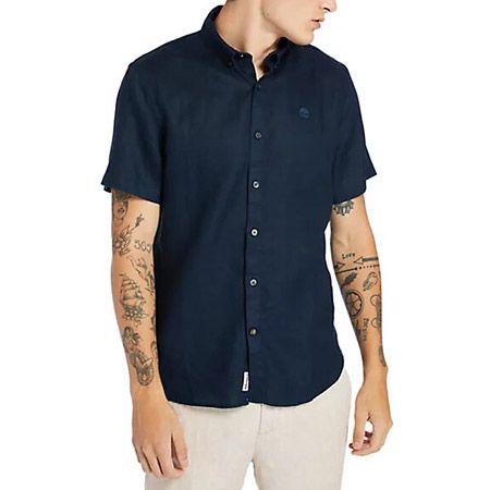 Timberland A2DCC433 SS Linen Shirt - Blau - mainview